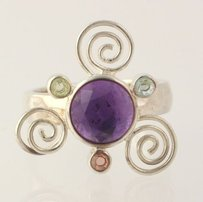 Other Multi-gemstone Ring - Sterling Silver Genuine Womens Statement Swirl