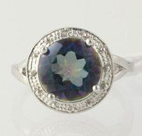Mystic Topaz Cocktail Ring - 925 Sterling Silver Band Diamond Accents Womens