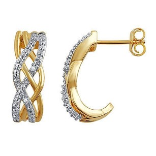 Natural Diamond And Accents Ladies Two Tone Plated Brass Half Hoop Earrings