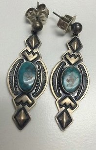 Other Navajo Stamped Sterling Silver 2 Turquoise Pierced Drop Earrings Signed