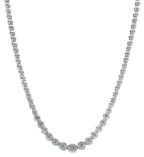 Necklace 14k White Gold Diamond Riviera 4.9ct H Si3 Round Cut Stones 20.7gr 15
