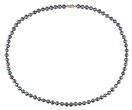 Other 18 5-6 Mm Freshwater Black Pearl Necklace W 10ky Lobster Clasp