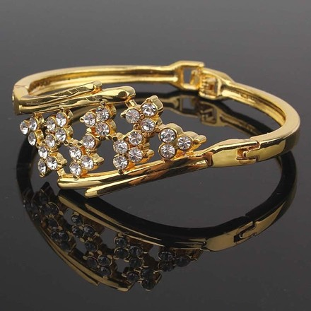 Other New 18k Yellow Gold Filled Blossom Austrian Crystal 2.5 inch Bracelet Bangle