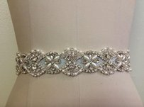 New Bridal Sash With Pearls And Crystals Sew In Organza