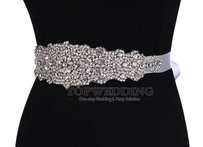 New Crystals Wide Bridal Sash Color White