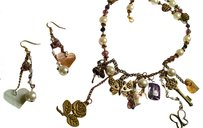 New Handmade Charm Necklace Antiqued Gold Crystals Earrings Set J655