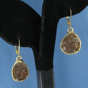 Nina Nguyen Earrings Brown Druzy Drop Dangles Sterling Silver 22k Yg