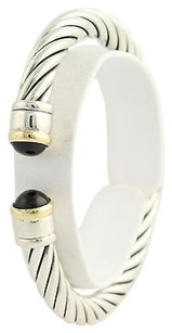 Onyx-accented Rope Cuff Bracelet 14 - Sterling Silver 18k Yellow Gold