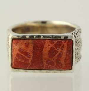 Other Orange Jasper Ring - Sterling Silver 925 6.75-7 Womens Solitaire