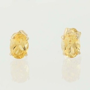 Oval Citrine Solitaire Earrings 14k Yellow Gold Pierced Orange Birthstone 1.70ct