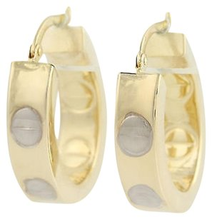 Other Oval Hoop Earrings - 14k Yellow White Gold Pierced