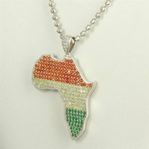 Pan Africa Red Yellow Green Lab Diamond Mens Silver Lab Diamond Pendant Chain