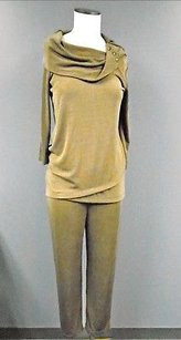 Travelers By Chicos Womens Brown Stretch Cowl Neck Texture Pant Suit 0 5027a