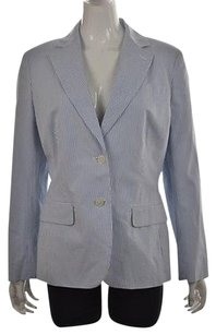 346 Brooks Brothers Womens Blue Blazer Striped Jacket Wtw Cotton