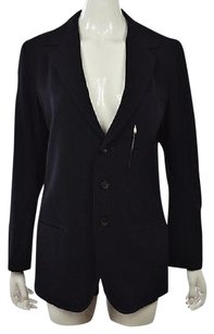Ys Yohji Yamamoto Womens Blue Blazer Wool Long Sleeve Career Jacket Wtw