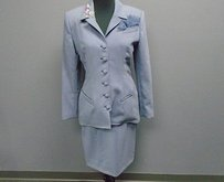 Patricia Rhodes Couture Slate Blue Wool Lined Two Piece Skirt Suit 4192a