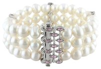 Other Sterling Silver 7.5-8 Mm Freshwater Pearl Pink Sapphire Bracelet 7 0.782 Ct