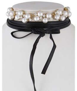 Other Pearl Crystal Leather Choker