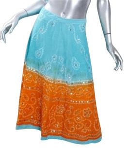 Other Margaret Loves Peter Womens Turquoiseorange Tie Dye L Maxi Skirt Multi-Color