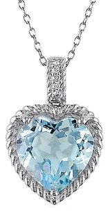 Other Sterling Silver Diamond Sky Blue Heart Topaz Pendant With 18 Chain I2-i3