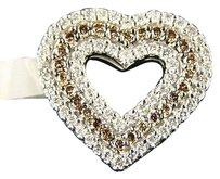 Ladies 14k Brown Diamond 3 Row Heart Pendant 1.00 C