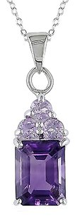 Other Sterling Silver 5 Ct Amethyst Rose De France Fashion Pendant Necklace With Chain