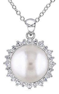 Other Silver Pendant 11-12mm Freshwater Button Pearl White Topaz Necklace Chain