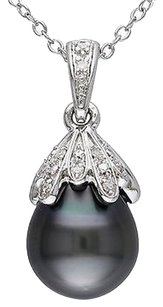 9 - 9.5 Mm Black Tahitian Pearl Pendant Silver Chain 0.05 Ct Diamond Gh I2i3