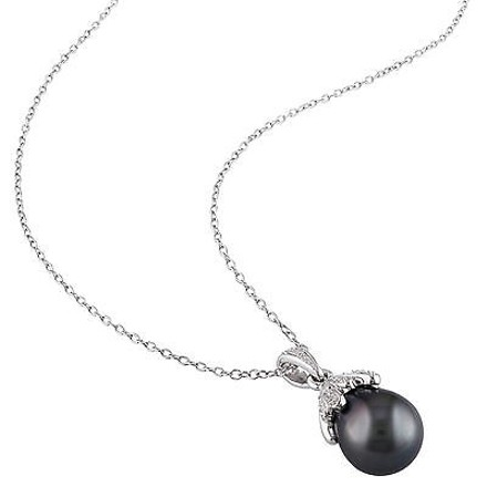 Other 9 - 9.5 Mm Black Tahitian Pearl Pendant Silver Chain 0.05 Ct Diamond Gh I2i3
