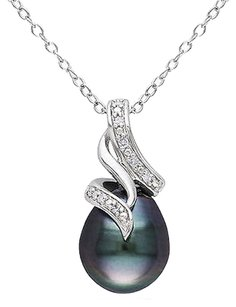 Other Sterling Silver Diamond 9-10 Mm Black Tahitian Pearl Swirled Pendant Necklace 18