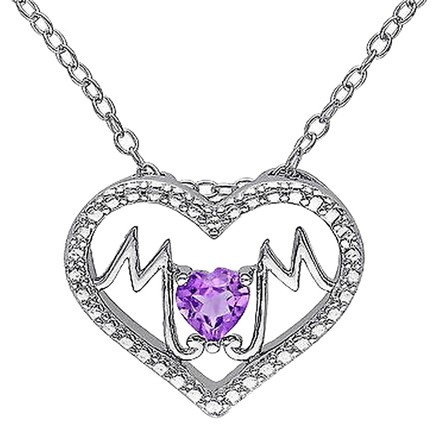 Other Sterling Silver 13 Ct Amethyst Heart Heart-in-heart Love Pendant Necklace