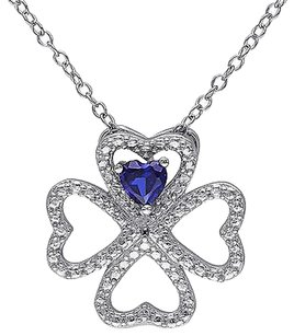 Other Silver 14 Ct Blue Sapphire Heart 4 Lucky Clover Nature Love Pendant Necklace