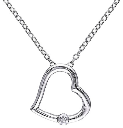 Other Sterling Silver Diamond Heart Pendant Necklace With Chain Gh I2i3