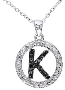 Sterling Silver Black Diamnd Initials K Tone Pendant Necklace With Chain