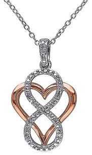 Sterling Silver Diamond Fashion Two-tone Heart Infinity Love Pendant Necklace