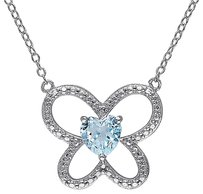 Other Sterling Silver 58 Ct Sky Blue Topaz Butterfly Nature Heart Pendant Necklace