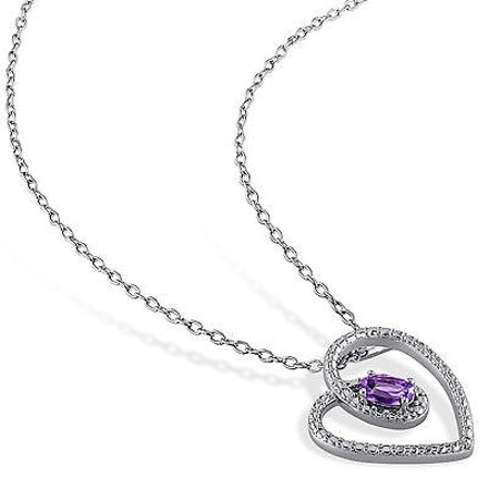 Other Sterling Silver 15 Ct Tgw Amethyst Fashion Love Heart Pendant Necklace