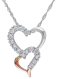 14k White Pink Gold 12 Ct Diamond Double Stacked Heart Pendant Necklace