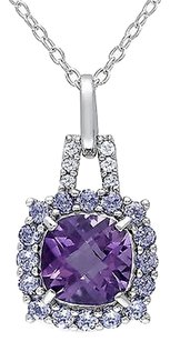Other Sterling Silver Diamond And 2 13 Ct Amethyst Tanzanite Pendant Necklace W Chain