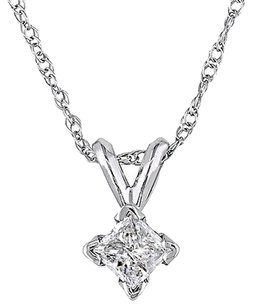 Other 14k White Gold 14 Ct Princess Cut Diamond Solitaire Pendant W Chain J-k I2-i3
