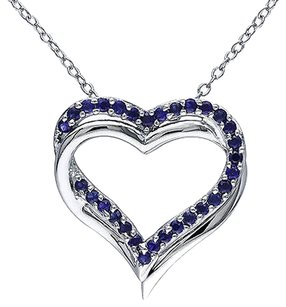 Other Sterling Silver 58 Ct Blue Sapphire Crossover Love Heart Pendant Necklace