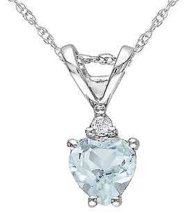 Other 10k White Gold Diamond 13 Ct Aquamarine Heart Love Pendant Necklace Wchain