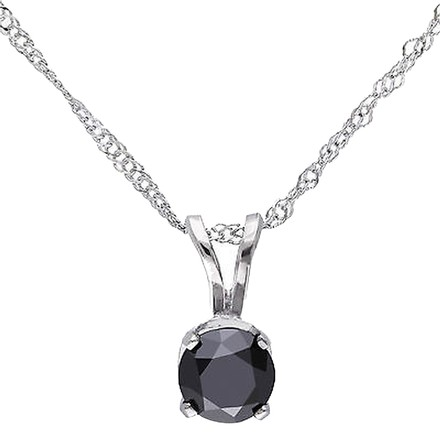 Other 14k White Gold 12 Ct Black Diamond Tw Solitaire Pendant Necklace With Chain