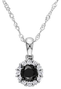 14k White Gold White Black Diamond Pendant Necklace 0.5 Ct G-h I2-i3 17