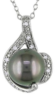 9-9.5 Mm Black Tahitian Pearl Pendant Silver Chain .05 Ct Diamond Gh I2i3