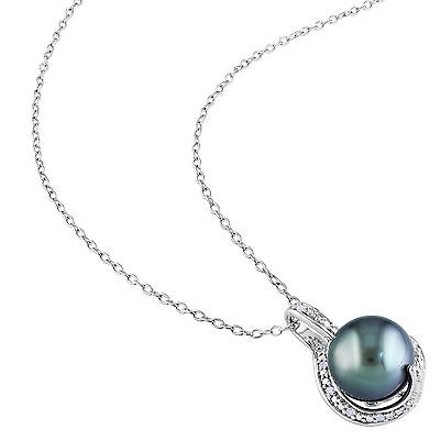 Other 9-9.5 Mm Black Tahitian Pearl Pendant Silver Chain .05 Ct Diamond Gh I2i3