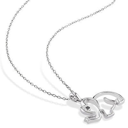 Other Sterling Silver Black Diamond Fashion Elephant Animal Pendant Necklace Chain