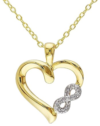 Other Yellow Sterling Silver Diamond Heart Infinity Love Pendant Necklace Chain