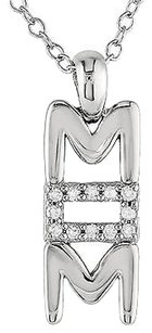 Other Sterling Silver Diamond Fashion Mom Pendant Necklace With Chain Gh I1i2 925