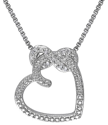 Other Sterling Silver Diamond Infinity Love Heart Pendant Necklace W Chain Gh I2i3